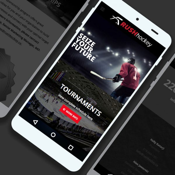 Rush website mobile view